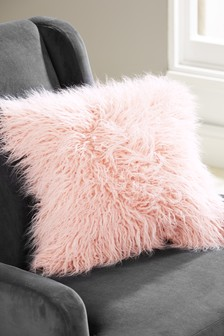 Faux Mongolian Fur Square Cushion