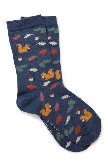 FatFace Navy Autumn Squirrel Socks