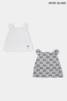 River Island Grey Monogram Beanie Hat Two Pack