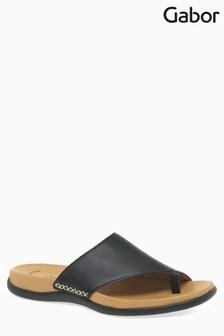 Gabor Black Leather Mule