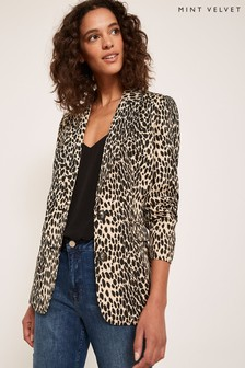 Mint Velvet Natural Animal Jacquard Blazer