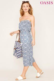 Oasis Blue Apollonia Bardot Cutout Jumpsuit