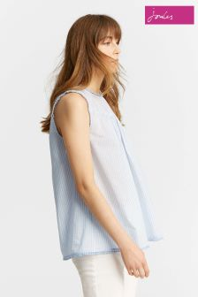 Joules Blue Romella Blue Sleeveless Top With Cotton Trim