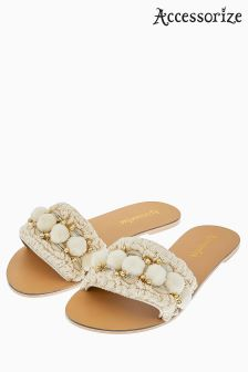 Accessorize Cream Penelope Pom Pom Slider