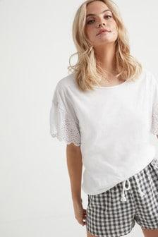 刺繡袖子T恤