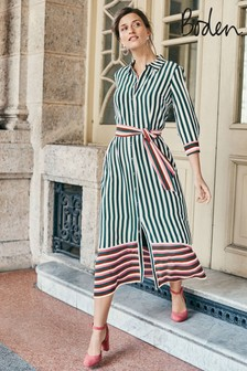 Boden Green Mallory Midi Shirt Dress