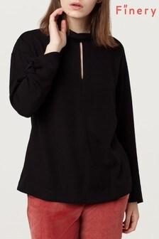 Finery Black Rima Fold Neck Top