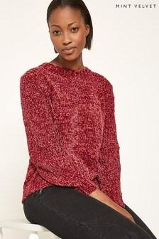 Mint Velvet Pink Chenille Balloon Sleeve Cropped Knit