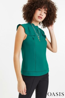 Oasis Green Frill Shell Top