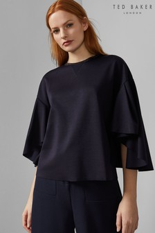 Ted Baker Navy Emiaya Relaxed Fit Flow Sleeve Top