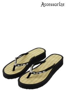 Accessorize Black Seagrass Wendy Wedge