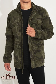 Hollister Green Camo Military Jacket