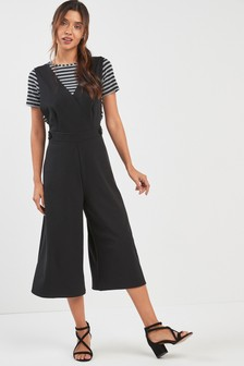 2-In-1 Culotte Jumpsuit And Grey/Black Stripe T-Shirt