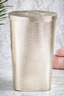 Faux Leather Laundry Hamper