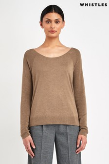 Whistles Camel Scoop Neck Silk Mix Knitted Jumper