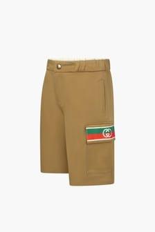 GUCCI Kids Boys Brown Cotton Shorts