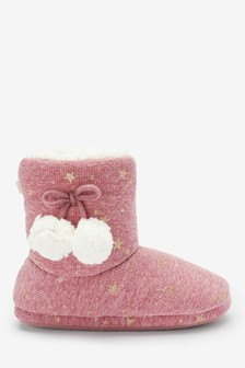 Pink                     Sparkle Star Slipper Boots