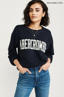 Abercrombie & Fitch Navy Logo Crew Jumper
