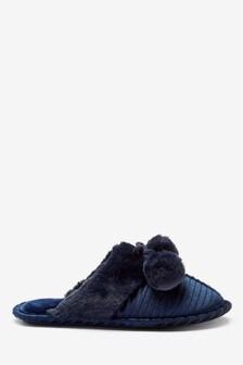 Luxe Pom Mule Slippers