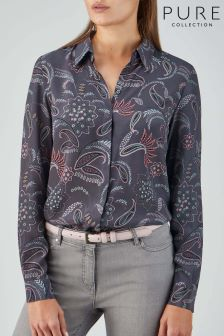 Pure Collection Grey Relaxed Washed Silk Blouse