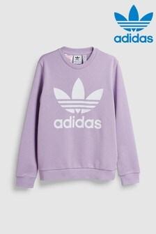 سترة بحافة رقبة مستديرة أرجواني بعلامة الوريقات الثلاث من adidas Originals