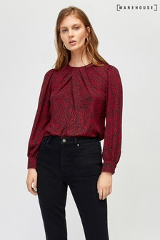 Warehouse Red Ditsy Leopard Pleat Neck Long Sleeve Top