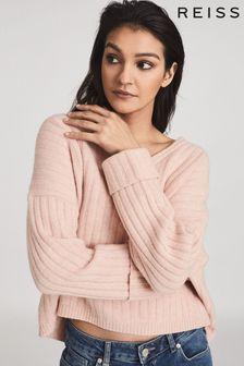 Reiss Pink Nina Wool Cashmere Blend V-Neck Jumper