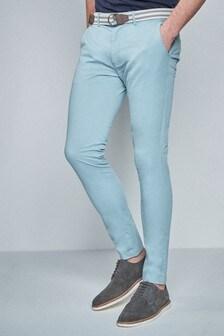מכנסיים נמתחים קלילים עם חגורה