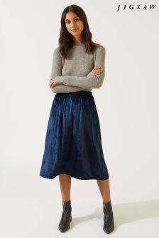 Jigsaw Blue Velvet Midi Skirt