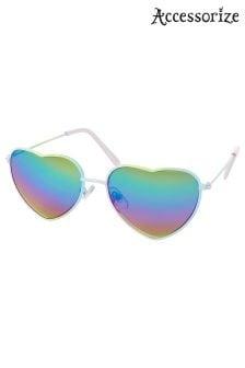Accessorize Metallic Ombre Metal Heart Aviator Style Sunglasses