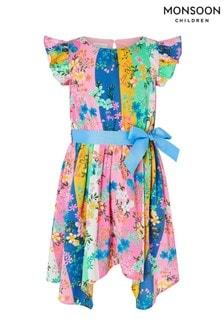 Monsoon Multi Stripe Floral Hanky Hem Dress In Recycled Polyester