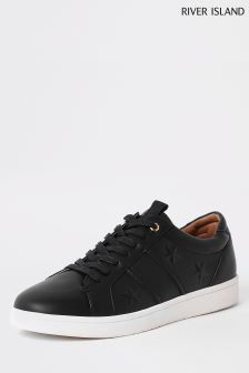 River Island Black Star Embossed Trainer