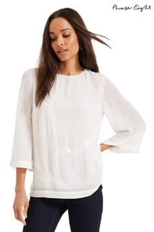 Phase Eight Cream Odette Feather Blouse