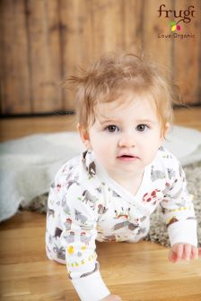 Frugi Soft White Lovely Hay Days Babygrow