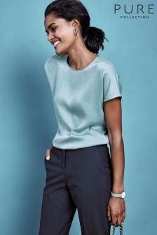 Pure Collection T-Shirt aus Seidensatin, Blau