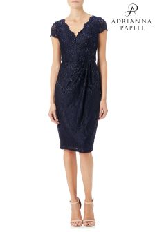 Adrianna Papell Blue Stretch Lace Scallop Dress