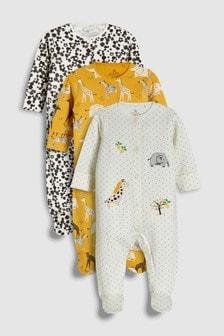 מארז שלוש חליפות פיג'מה רקומות עם חיות (0 חודשים-2 שנים)