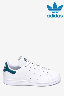 adidas Originals White/Blue Stan Smith Youth Trainers