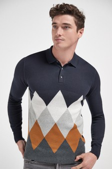 Argyle Pattern Check Knitted Polo