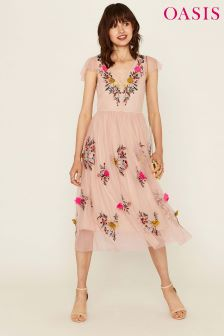 Oasis Light Pink Floral Mesh Midi Dress