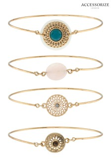 Accessorize Gold Tone Bracelet Four Pack