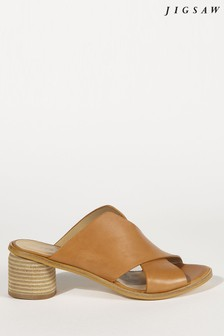 Jigsaw Clover Leather Crossover Mule
