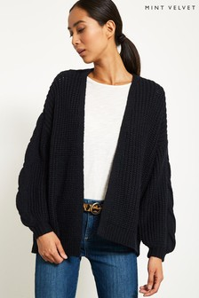 Mint Velvet Blue Chunky Cable Cocoon Cardigan