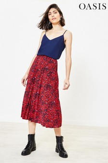 Oasis Multi Red Heart Print Midi Skirt