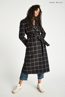 Jack Wills Black Blythe Long Checked Robe Coat