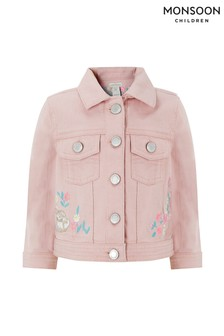 Monsoon Pink Baby Bunny Denim Jacket