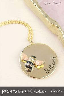 Personalised Bee and Disk Necklace By Lisa Angel