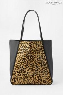 Accessorize Leopard Print Suki Leather Tote Bag