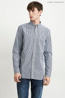 French Connection Navy Button Down Peach Gingham Shirt