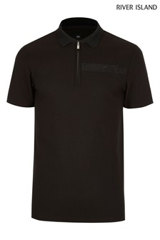 River Island Black New Texture Polo